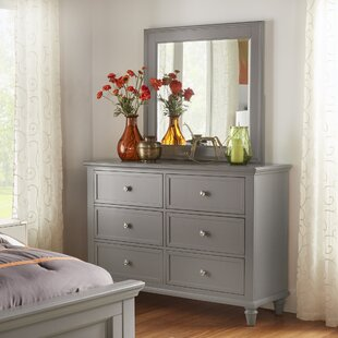 Three Posts Rae 6 Drawer Double Dresser with Mirror