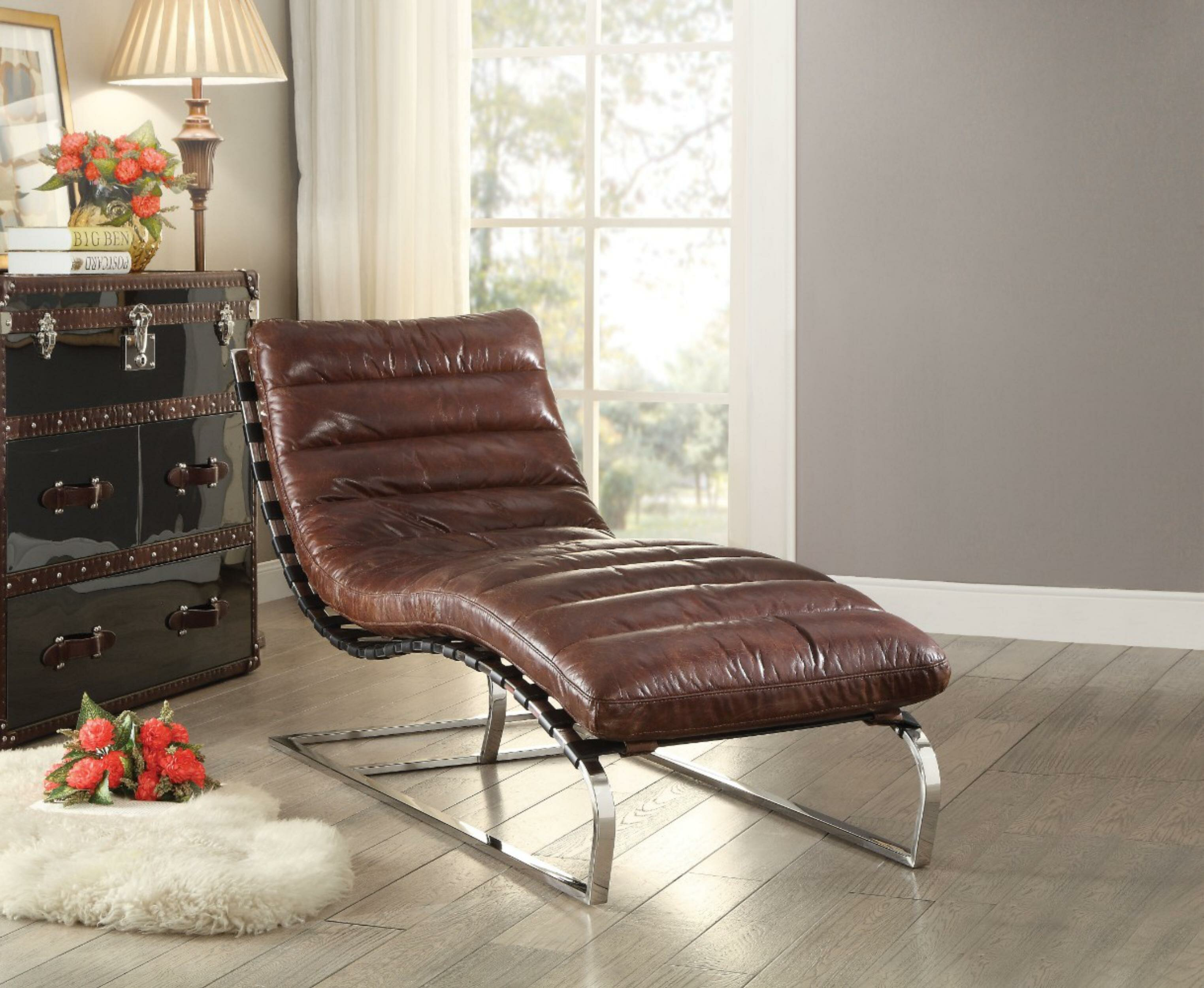 - 17 Stories Brookline Leather Chaise Lounge Wayfair