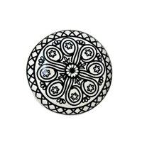 Intricate Motif Flat Ceramic Mushroom Knob