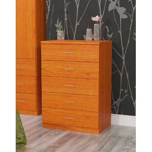 Hazelwood Home Five Drawer Chest with Plastic Handles in Cherry