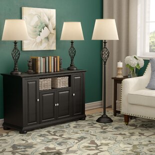 Quinton 3 Piece Table and Floor Lamp Set by Three Posts