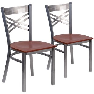 MacArthur Curved Coated ''X'' Back Metal Restaurant Side Chair (Set of 2)