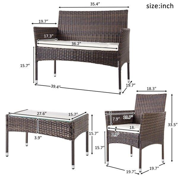 Topmax 4 Pc Outdoor Garden Rattan Patio Furniture Set Cushioned Seat Wicker Sofa (brown)