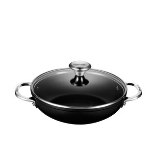 Toughened Nonstick Shallow Aluminum Round Braiser with Lid