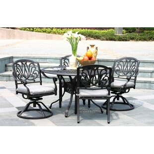 Greenwell 5 Piece Dining Set with Sunbrella Cushions by Fleur De Lis Living