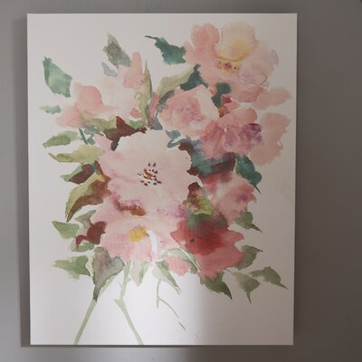 "Wild Roses Painting Print on Wrapped Canvas Lark Manor Size: 20"" H x 16"" W x 1.75"" D"