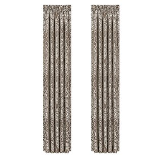 Cauley Damask Room Darkening Rod Pocket Curtain Panels (Set of 2) by House of Hampton