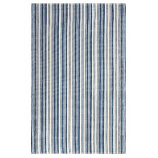 Ticking Stripe Hand-Woven Flatweave Blue/White Indoor/Outdoor Area Rug