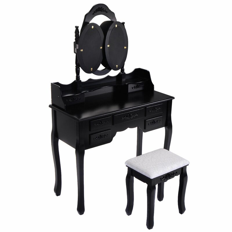 Beautiful Wilsonville Makeup Tri Folding Vanity Set With Mirror