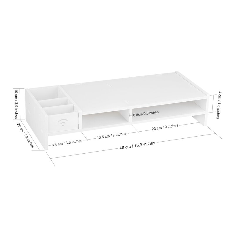 Nice Ennis Wood Plastic Composite Computer Monitor Stand Desktop Organizer Rack  With 5 Compartment Storage