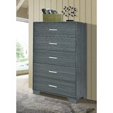 Sanket 5 Drawer Chest Dark Grey Oak by Orren Ellis