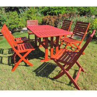 World Menagerie Palmquist Acacia 7 Piece Patio Dining Set