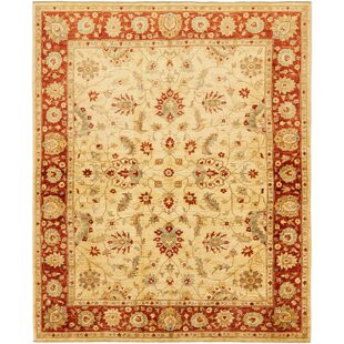 "One-of-a-Kind Huntingdon  Hand-Knotted 6'5"" x 8' Wool  Ivory/Orange Area Rug"