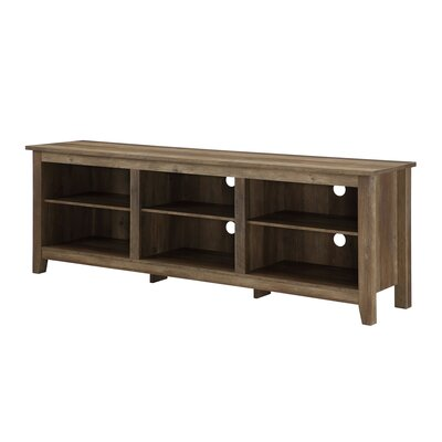 Beachcrest Home Sunbury TV Stand for TVs up to 70 with optional Fireplace Fireplace Included: No, Color: Rustic Oak