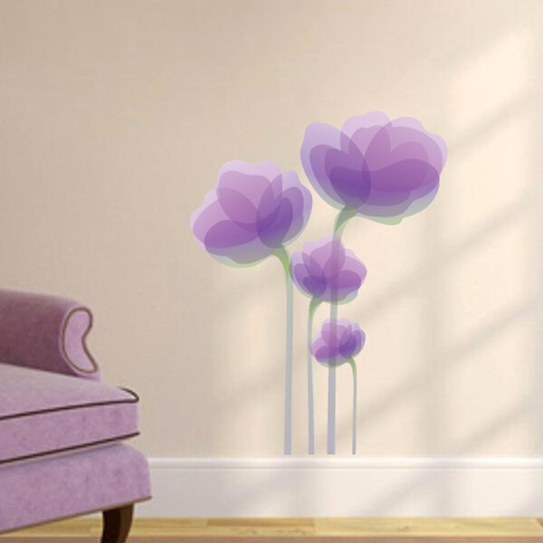 sweetumswalldecals purple flowers wall decal   wayfair