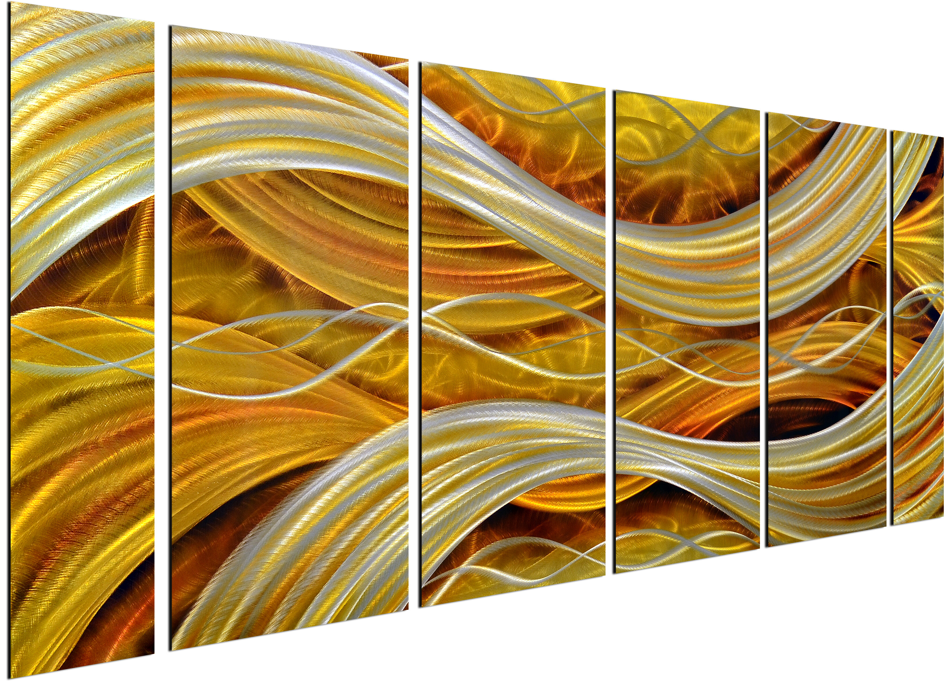 Omax Decor 6 Piece Golden Interwoven Spirals Wall Décor Set ...