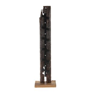 Bernadine Rustic Teak 6-Bottle Tabletop Wine Bottle Rack