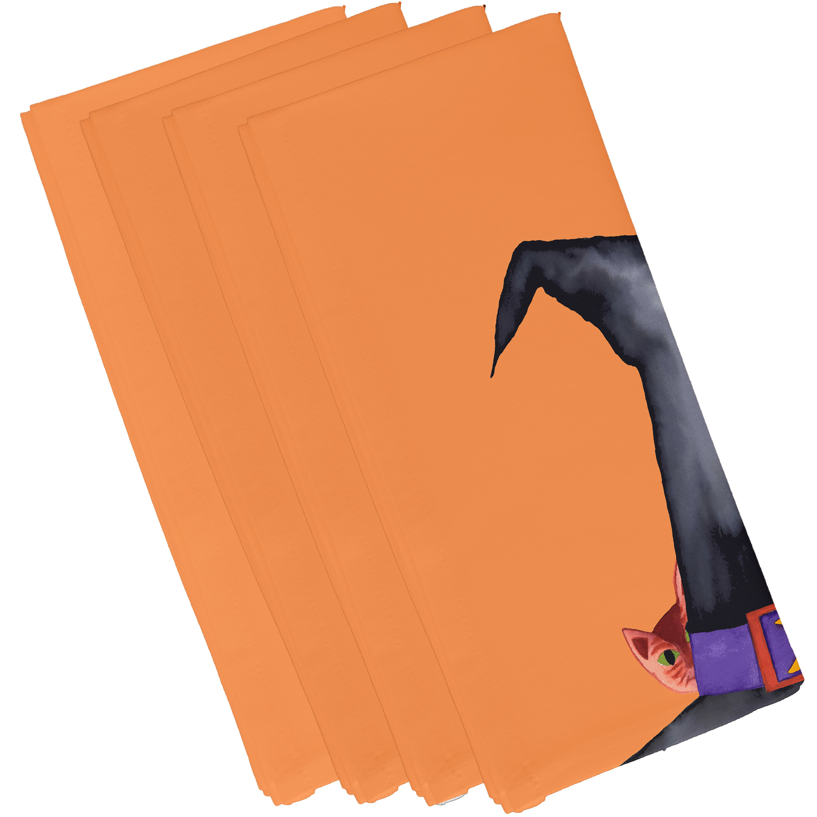 The Holiday Aisle Maser Cat Behind The Hat Halloween 4 Piece Napkin Set