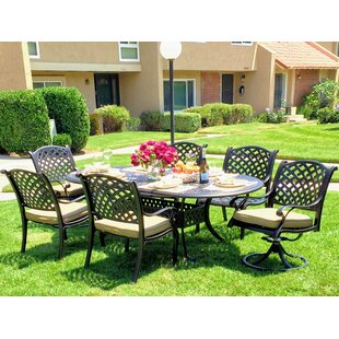 Darby Home Co Beadle Oval 7 Piece Dining Set with Cushions