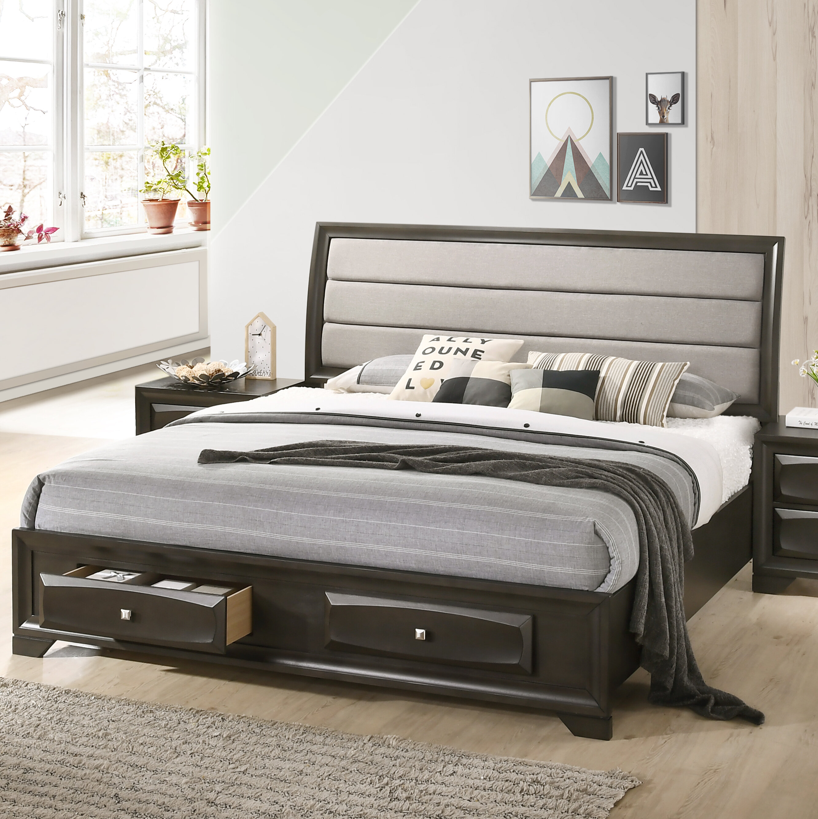 Winston Porter Asger Antique Grey Finish King Size Storage Platform Bed With Fabric Upholstery Headboard Reviews Wayfair Ca
