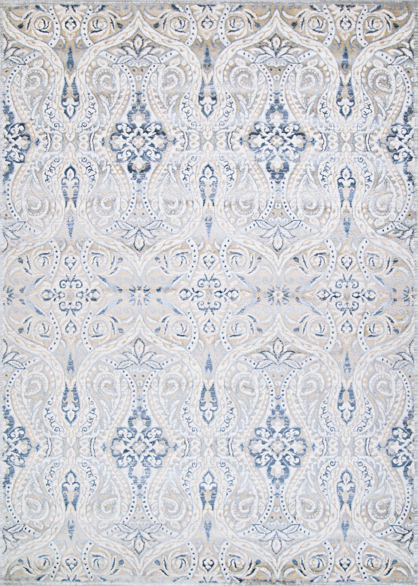 Charlton Home Karmane Floral Blue Gray Area Rug Reviews Wayfair