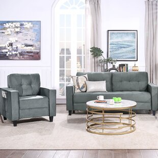 Sectional Sofa Set Morden Style Couch Furniture Upholstered Sectional Armchair, Loveseat And Three Seat, Gray (Set of 2) by Ebern Designs