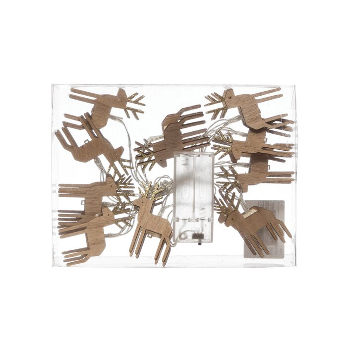 christmas wood deer string lights