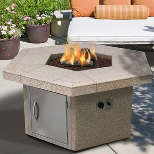 Cal Flame Stucco and Tile Rectangle Steel Propane Fire Pit Table