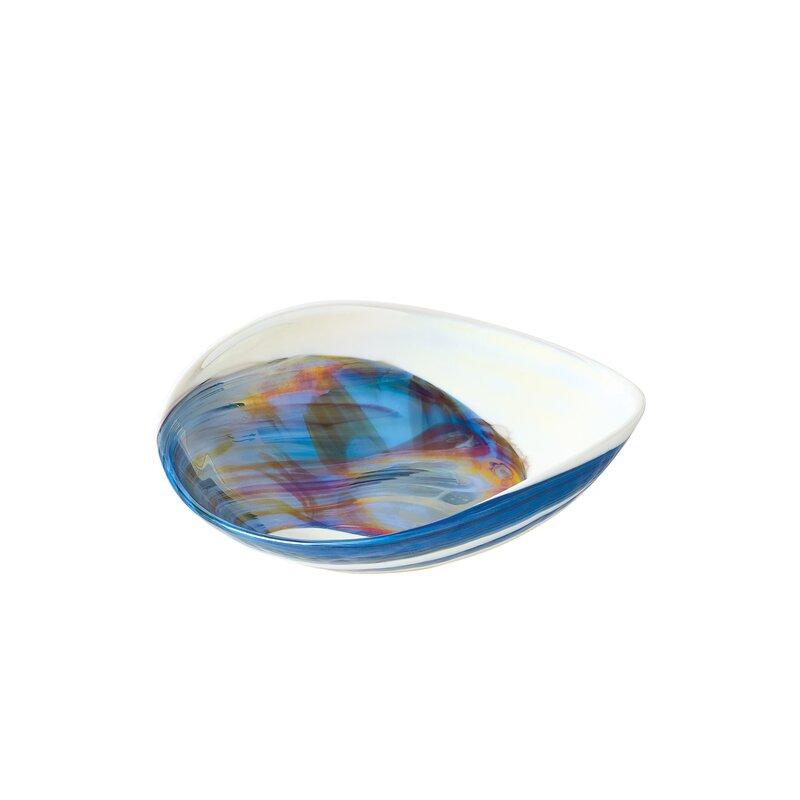 Global Views Swirl Glass Industrial Decorative Bowl In Ocean Wayfair
