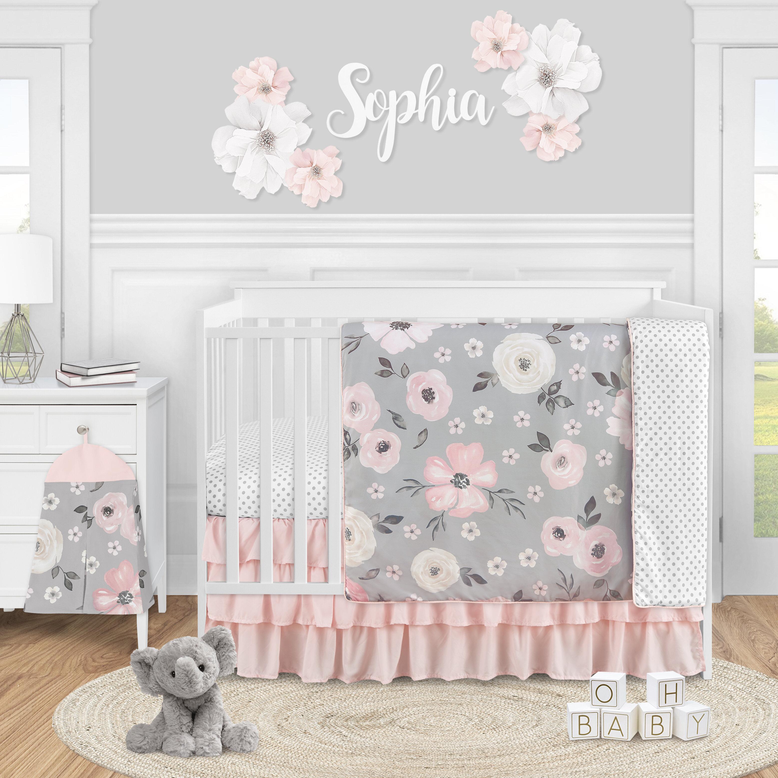 Sweet Jojo Designs Watercolor Floral 4 Piece Crib Bedding Set Wayfair