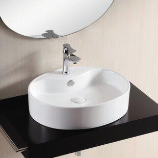 Caracalla Ceramica II Ceramic Oval Vessel Bathroom Sink with Overflow