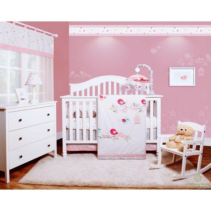 Donaway Happy Enchanted Birds 6 Piece Baby Girl Nursery Crib Bedding Set