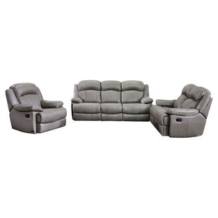 Grey Leather Living Room Sets You\'ll Love   Wayfair