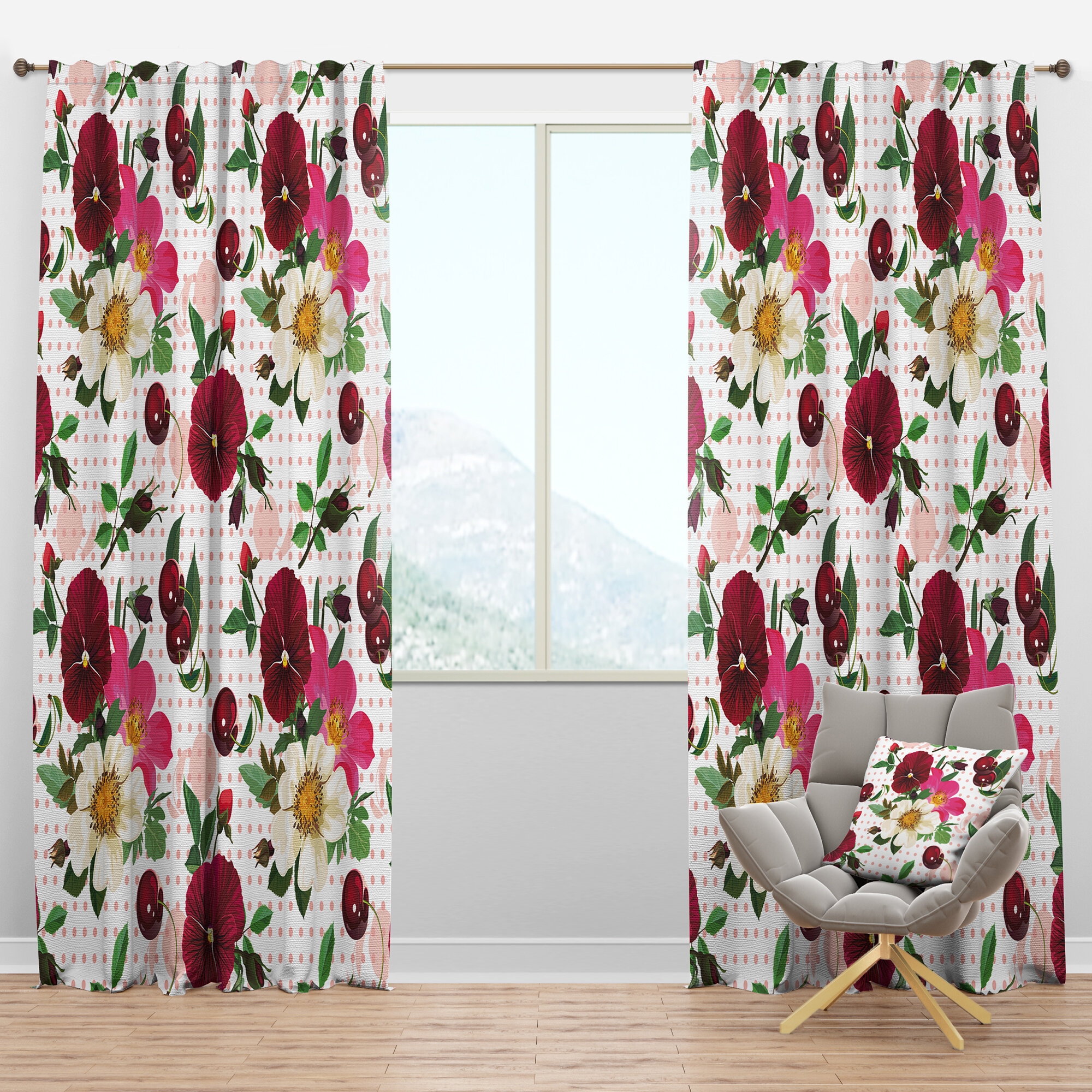 Designart Pansies Cherries And Roses Floral Semi Sheer Thermal Rod Pocket Curtain Panels Wayfair