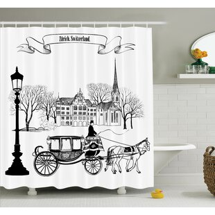 Sketch Street in Zurich Retro Shower Curtain Set
