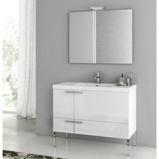 New Space 39.2 Single Single Bathroom Vanity Set with Mirror by ACF Bathroom Vanities