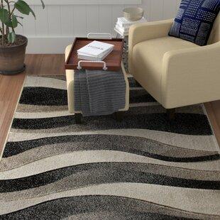 Compare prices Edmondson Hand Carved Waves Black/Gray Area Rug ByEbern Designs