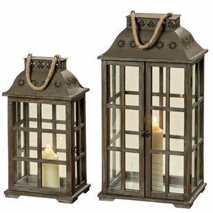 Hurricane Candle 2 Piece Wood Lantern Set by Fleur De Lis Living