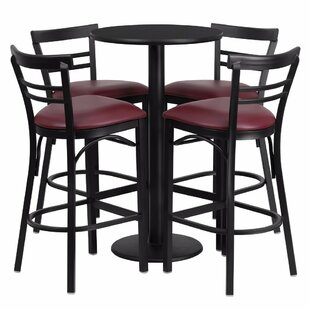 Alvarez Round Laminate 5 Piece Upholstered Pub Table Set Red Barrel Studio