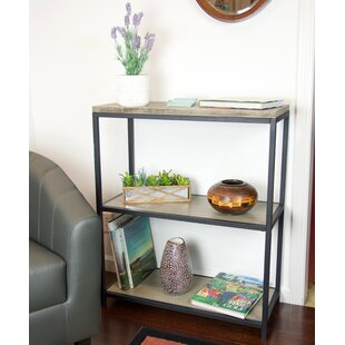 Brushed Gray Bamboo Etagere Bookcase