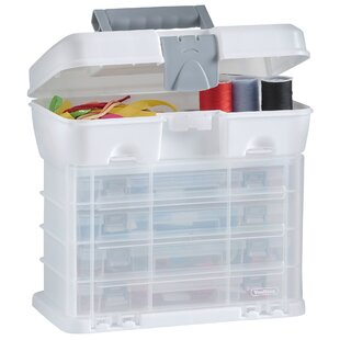 VonHaus Utility Tool Box Organiser Case With 4 Drawers & Adjustable Dividers By VonHaus