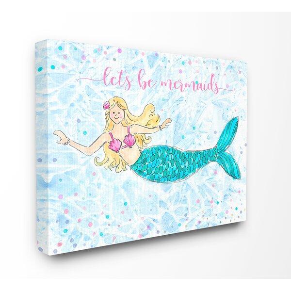 Mermaid Set Stretched Canvas Wall Art