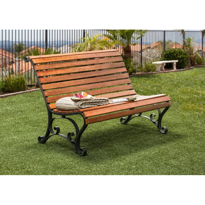 Simply Slatted Outdoor Iron Park Bench