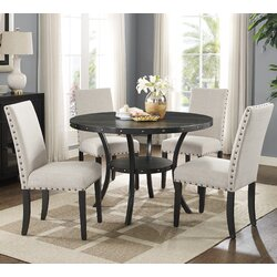 5 Piece Dining Sets roundhill furniture biony espresso 5 piece dining set & reviews