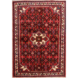 Read Reviews One-of-a-Kind Trixie Geometric Tribal Hamedan Persian Hand-Knotted 3'5 x 4'11 Wool Burgundy/Black Area Rug By Isabelline