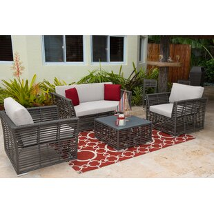 4 Piece Rattan Sunbrella Sofa Set with Cushion by Panama Jack Outdoor