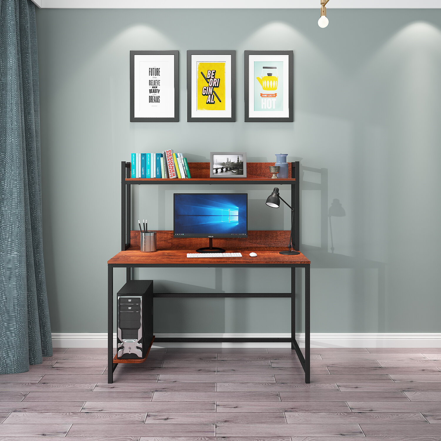 17 Stories Computer Desk With Hutch And Shelf Writing Study Table With Bookshelf Study Desk Modern Office Desk Stable Corner Desk For Small Space Steel Frame Wood Desk Home Office Workstation