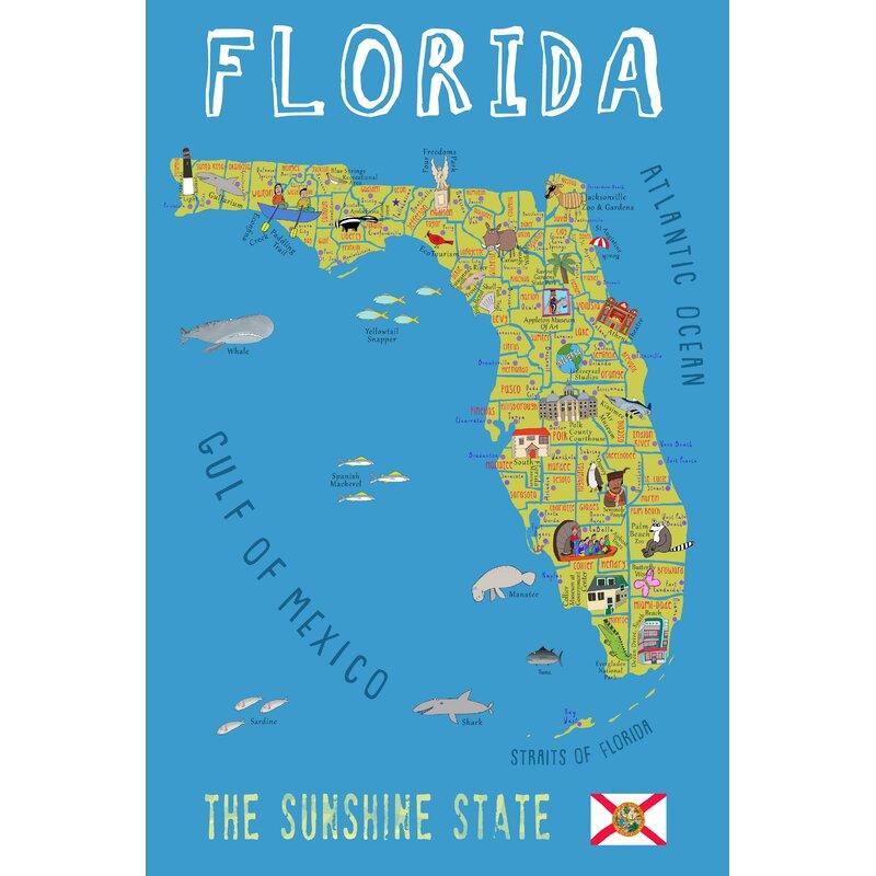 Zoomie Kids Ono Blue Florida Map Canvas Art Wayfair Ca