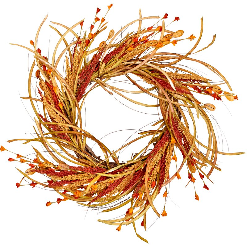 "22"" Fall Grass and Flower Wreath"