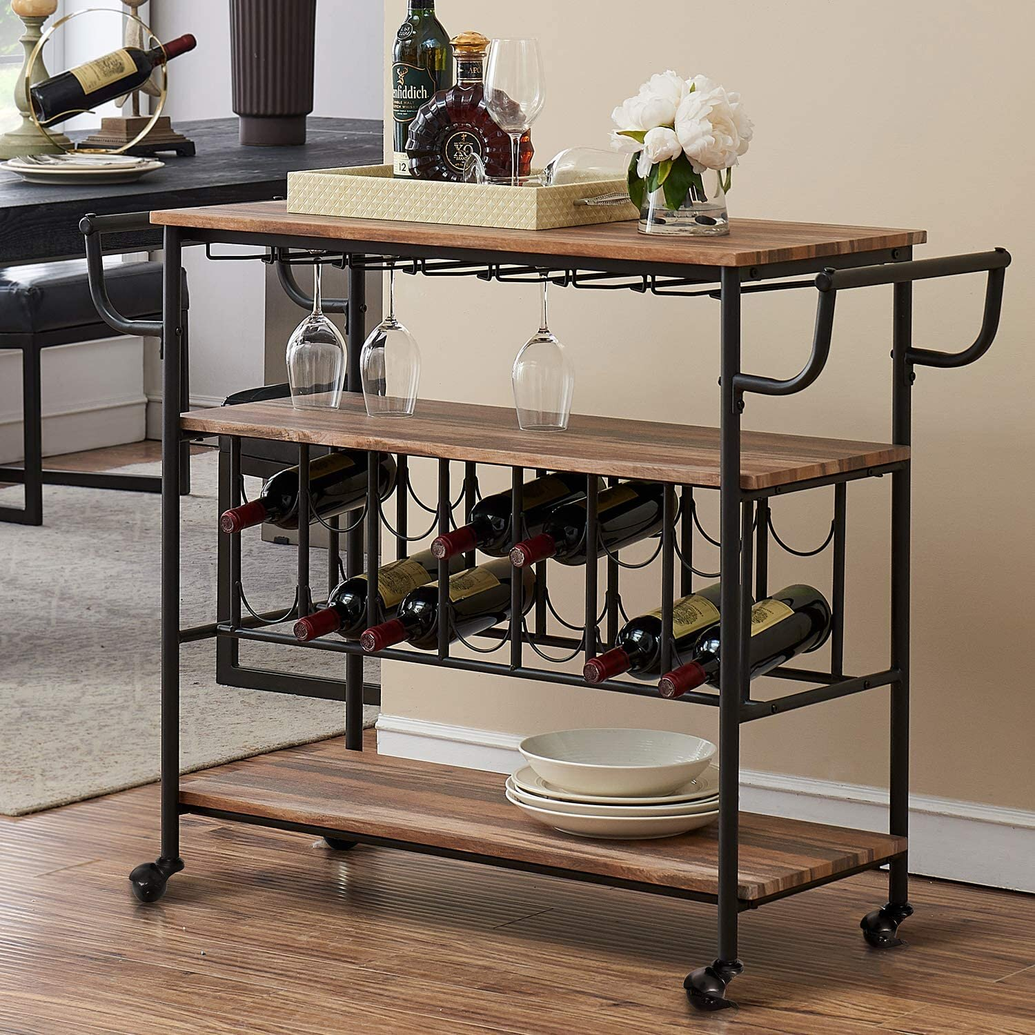 17 Stories Industrial Bar Cart With Wine Rack And Glass Holder Mobile Wine Carts With Wheels For The Home Metal Serving Cart And Kitchen Storage Cart 3 Shelves Vintage Brown Wayfair Ca